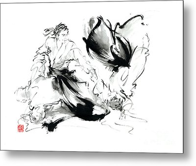 Aikido Randori Techniques Kimono Martial Arts Sumi-e Samurai Ink Painting Artwork Metal Print