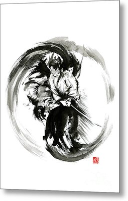Aikido Techniques Martial Arts Sumi-e Black White Round Circle Design Yin Yang Ink Painting Watercol Metal Print by Mariusz Szmerdt