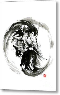Aikido Techniques Martial Arts Sumi-e Black White Round Circle Design Yin Yang Ink Painting Watercol Metal Print by Mariusz Szmerdt