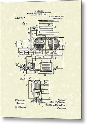 Air Conditioner 1916 Patent Art Metal Print by Prior Art Design