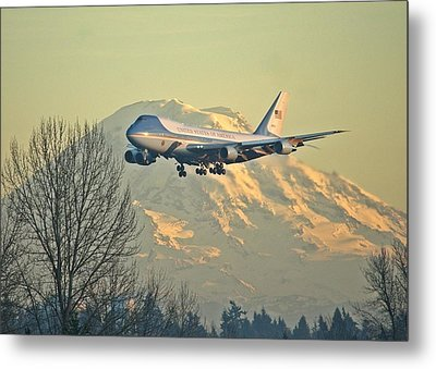 Air Force One And Mt Rainier Metal Print