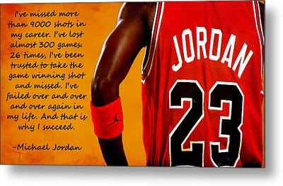 Air Jordan Success Quote Metal Print by Brian Reaves