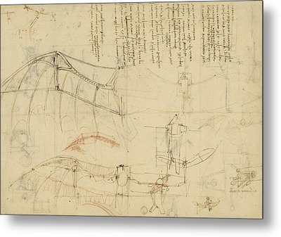 Aircraft Machine Has Been Reduced To Simplest Shape Wings Directly Put On Human Body By Straps  Metal Print by Leonardo Da Vinci