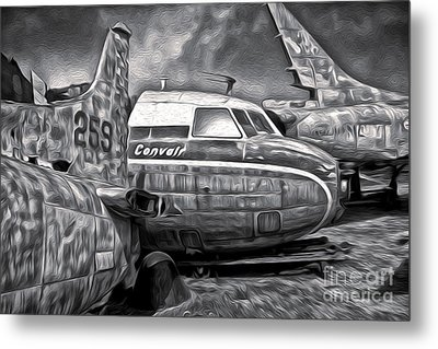 Airplane Graveyard - Black And White Metal Print by Gregory Dyer