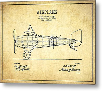 Airplane Patent Drawing From 1918 - Vintage Metal Print by Aged Pixel