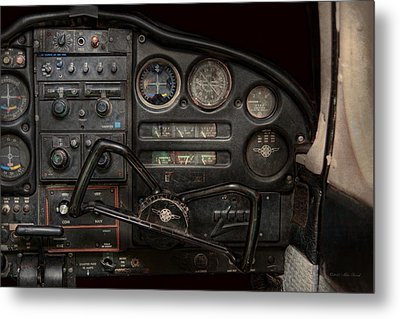 Airplane - Piper Pa-28 Cherokee Warrior - A Warriors View Metal Print by Mike Savad