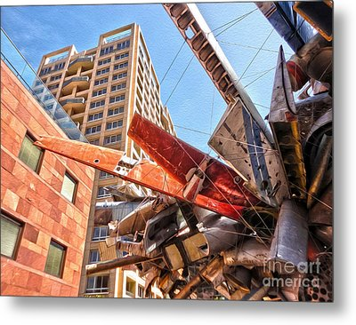 Airplane Wreckage Sculpture Outside Museum Of Contemporary Art - 02 Metal Print by Gregory Dyer