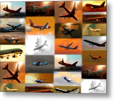 Airplanes Collage Metal Print by Marcello Cicchini