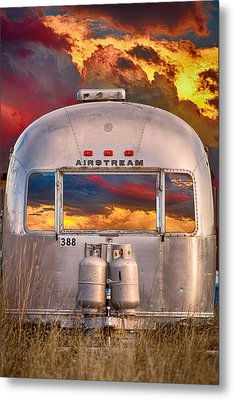 Airstream Travel Trailer Camping Sunset Window View Metal Print