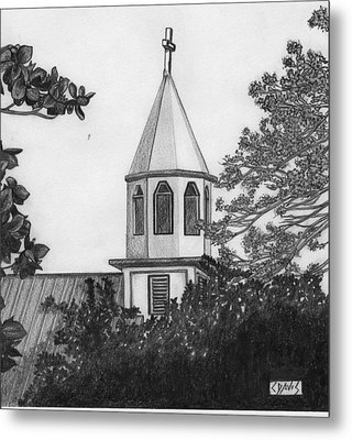 Metal Print featuring the drawing Ajeltake Steeple by Lew Davis