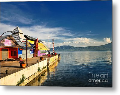 Metal Print featuring the photograph Ajijic Pier - Lake Chapala - Mexico by David Perry Lawrence