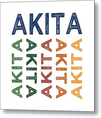 Akita Cute Colorful Metal Print