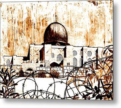 Al-asqa Mosque Palsetine- Mustard Metal Print by Salwa  Najm