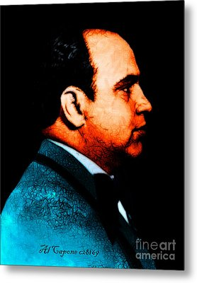 Al Capone C28169 - Black - Painterly - Text Metal Print by Wingsdomain Art and Photography