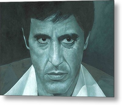 Metal Print featuring the painting Al Pacino 'scarface'  by David Dunne