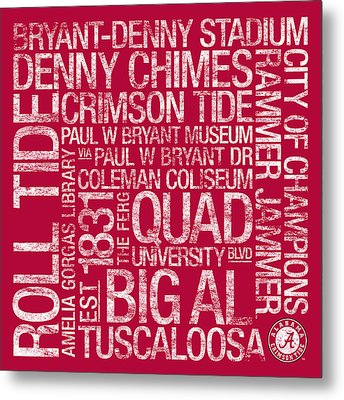 Alabama College Colors Subway Art Metal Print by Replay Photos