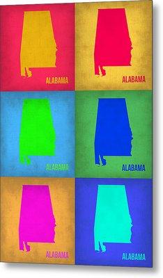 Alabama Pop Art Map 1 Metal Print by Naxart Studio