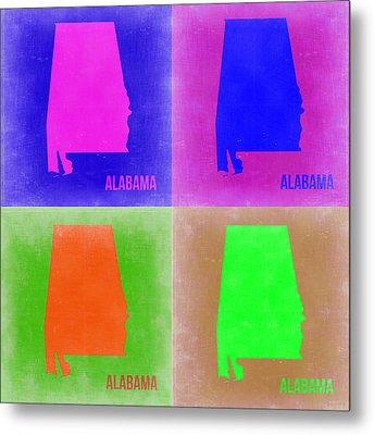 Alabama Pop Art Map 2 Metal Print