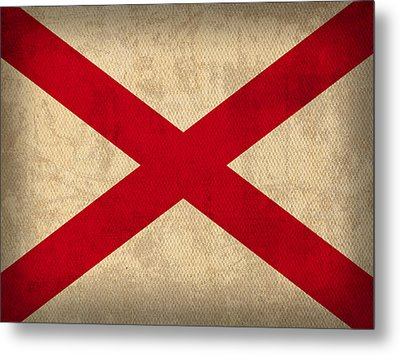 Alabama State Flag Art On Worn Canvas Metal Print by Design Turnpike
