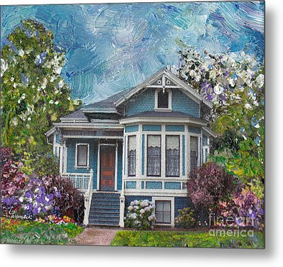 Alameda 1884 - Eastlake Cottage Metal Print by Linda Weinstock