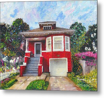 Colonial Revival High Basement Cottage 1907  Metal Print by Linda Weinstock
