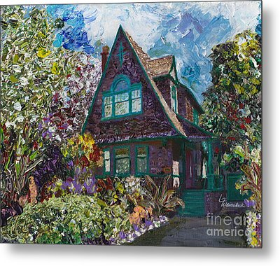 Alameda 1907 Traditional Pitched Gable - Colonial Revival Metal Print by Linda Weinstock