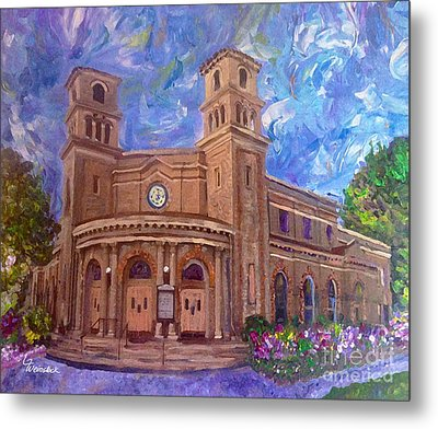 Alameda 1909  Twin Towers Church - Italian Renaissance  Metal Print by Linda Weinstock