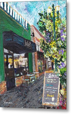 Alameda Julie's Coffee N Tea Garden Metal Print by Linda Weinstock