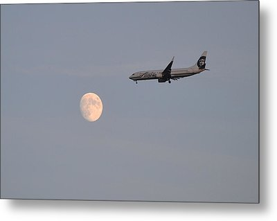 Alaska Airplane Meets The Moon Metal Print by Kelly Reber