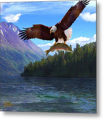 Metal Print featuring the painting Alaska Fly Fishing by Doug Kreuger