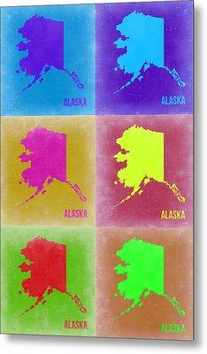 Alaska Pop Art Map 2 Metal Print by Naxart Studio
