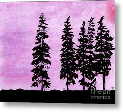 Metal Print featuring the drawing Colorful - Alaska - Sunset by D Hackett