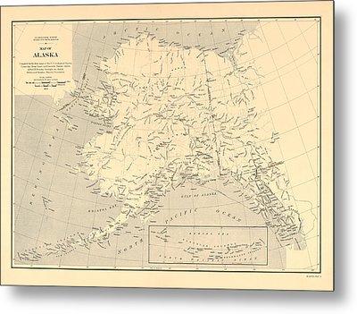 Alaska Vintage Antique Map Metal Print