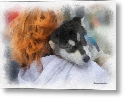 Alaskan Malamute Puppy Photo Art Metal Print by Thomas Woolworth