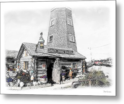 Metal Print featuring the photograph Alaska's Salty Dawg Saloon In B/w  by Dyle   Warren