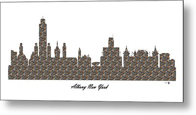 Albany New York 3d Stone Wall Skyline Metal Print