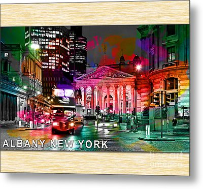 Albany New York Skyline Painting Metal Print by Marvin Blaine