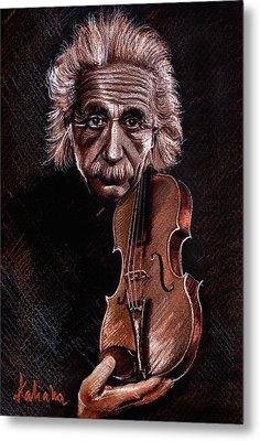 Albert Einstein And Violin Metal Print by Daliana Pacuraru