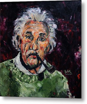 Albert Einstein Metal Print by Becky Kim