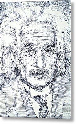 Albert Einstein - Drawing Portrait Metal Print by Fabrizio Cassetta
