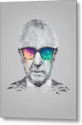 Albert Hofmann - Psychedelic Polygon Crystalised Portrait Metal Print by Philipp Rietz