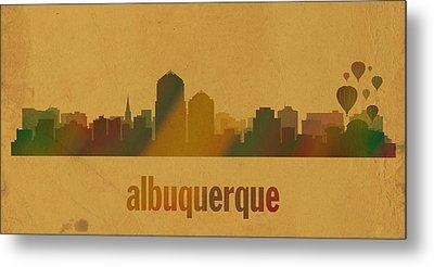 Albuquerque New Mexico City Skyline Watercolor On Parchment Metal Print