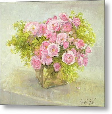 Alchemilla And Roses Metal Print by Timothy Easton