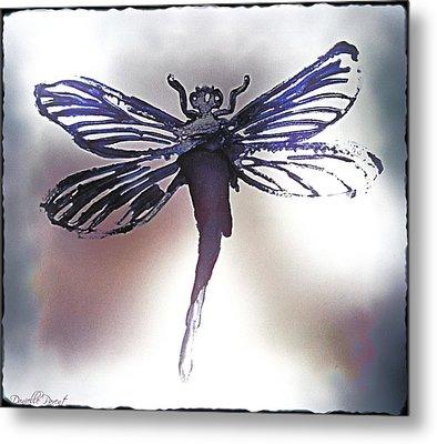 Alcohol Inks Purple Dragonfly Metal Print