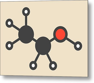 Alcohol Molecule Metal Print