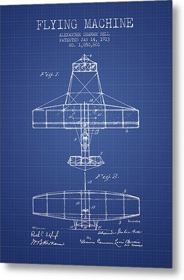 Alexander Graham Bell Flying Machine Patent From 1913 - Blueprin Metal Print by Aged Pixel