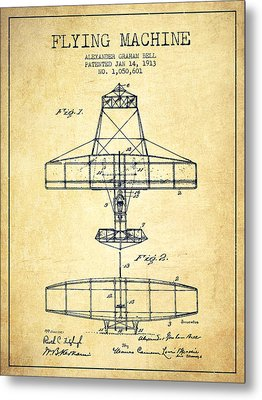 Alexander Graham Bell Flying Machine Patent From 1913 - Vintage Metal Print by Aged Pixel