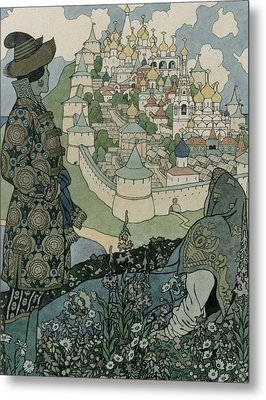 Alexander Pushkin's Fairytale Of The Tsar Saltan Metal Print by Ivan Jakovlevich Bilibin