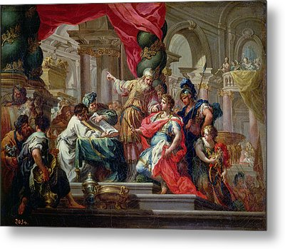 Alexander The Great In The Temple Of Jerusalem, C.1750 Oil On Canvas Metal Print