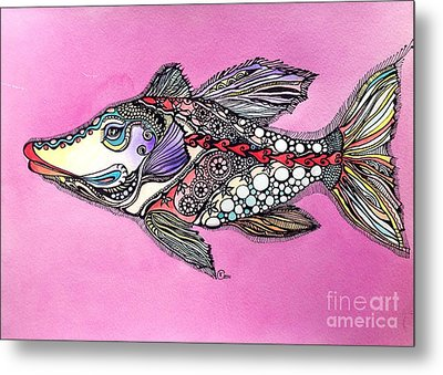 Metal Print featuring the painting Alexandria The Fish by Iya Carson